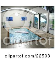Clipart Illustration Of Potted Plants Art Prints And Chaise Lounges Poolside By An Indoor Swimming Pool With A Floating Lounger And Beach Ball On The Water by KJ Pargeter