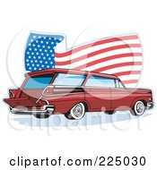 Royalty Free RF Clipart Illustration Of A Retro Station Wagon And Wavy American Flag Logo by patrimonio