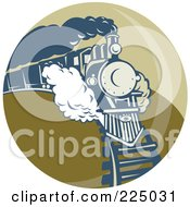 Royalty Free RF Clipart Illustration Of A Green Circle Steam Train Logo by patrimonio