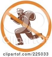 Royalty Free RF Clipart Illustration Of A Retro Robber Logo With A Prohibited Symbol