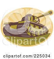 Royalty Free RF Clipart Illustration Of A Retro Military Tank And Rays Logo by patrimonio