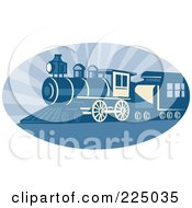 Royalty Free RF Clipart Illustration Of A Blue Oval Steam Train Logo