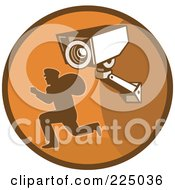 Royalty Free RF Clipart Illustration Of A Retro Styled Robber And Video Surveillance Logo