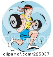 Royalty Free RF Clipart Illustration Of A Man Running And Carrying A Barbell Logo