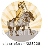 Royalty Free RF Clipart Illustration Of A Retro Warrior Holding A Sword On Horseback