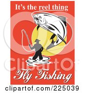 Royalty Free RF Clipart Illustration Of Its The Reel Thing Fly Fishing Text Around A Man Fly Fishing On Red