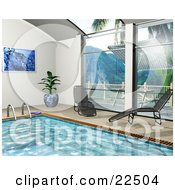 Clipart Illustration Of A Potted Plant Art Print And Chaise Lounges Poolside By Big Windows Near An Indoor Swimming Pool by KJ Pargeter