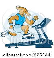 Royalty Free RF Clipart Illustration Of A Dog Sprinting On A Treadmill by patrimonio