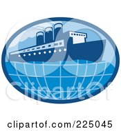 Royalty Free RF Clipart Illustration Of A Blue Oval Cruise Ship Logo