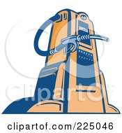Royalty Free RF Clipart Illustration Of A Retro Blue And Orange Gas Pump by patrimonio