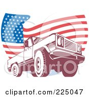 Royalty Free RF Clipart Illustration Of A Pick Up Truck And Wavy American Flag Logo by patrimonio
