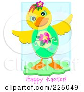 Yellow Duck With An Easter Egg Body And Happy Easter Text Over Blue