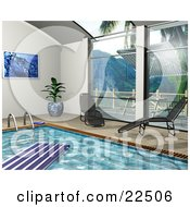 Clipart Illustration Of Two Chaise Lounges By Big Windows Beside An Indoor Swimming Pool With A Float On The Water