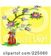 Royalty Free RF Clipart Illustration Of A Potted Flowering Tree Over A Floral Yellow Square by bpearth