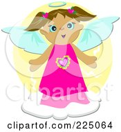 Royalty Free RF Clipart Illustration Of A Cute Brunette Angel In A Pink Dress On A Cloud Over Yellow