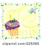 Royalty Free RF Clipart Illustration Of A Candle In A Cupcake Over Yellow With A Dragonfly by bpearth