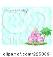Royalty Free RF Clipart Illustration Of A Happy Birthday Greeting With A Tropical Cake On Blue Waves by bpearth