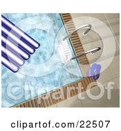 Clipart Illustration Of A Pool Ladder Blue Flip Flops And A Float In And At The Edge Of A Swimming Pool