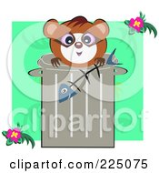 Royalty Free RF Clipart Illustration Of A Cute Raccoon Holding A Fish Bone And Peeking Over A Trash Can On Green