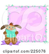 Royalty Free RF Clipart Illustration Of A Chubby Dog Sitting And Reading A Book Over A Purple Square With A Vine by bpearth