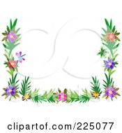 Leafy Floral Frame With Butterflies And Colorful Flowers