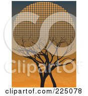Royalty Free RF Clipart Illustration Of A Silhouetted Bare Tree Against An Orange Dusk Sky And Halftone Setting Sun