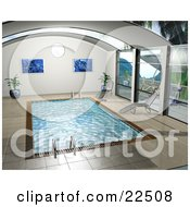Clipart Illustration Of Art Prints Potted Plants And Chaise Lounges Poolside By An Indoor Swimming Pool by KJ Pargeter