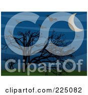 Royalty Free RF Clipart Illustration Of Silhouetted Vampire Bats Above Bare Trees In A Sky With A Crescent Moon And Hills