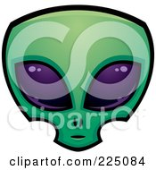 Green Alien Face With Big Purple Eyes