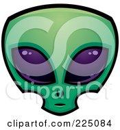 Green Alien Face With Big Purple Eyes