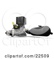 Clipart Illustration Of A Black Chrome And Yellow Car Engine Over White by KJ Pargeter