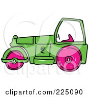 Royalty Free RF Clipart Illustration Of A Sketched Green And Pink Road Roller by Prawny