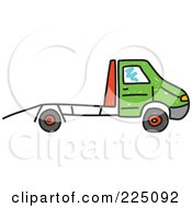 Royalty Free RF Clipart Illustration Of A Green And Red Car Transporter Truck