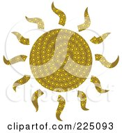 Royalty Free RF Clipart Illustration Of A Green Patterned Sun