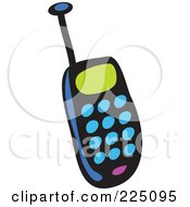 Royalty Free RF Clipart Illustration Of A Blue Whimsy Cell Phone by Prawny