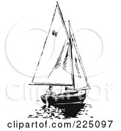 Royalty Free RF Clipart Illustration Of A Black And White Sailboat