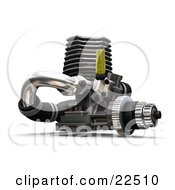 Yellow Black And Chrome Car Engine Over White