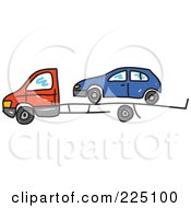 Royalty Free RF Clipart Illustration Of A Blue Car On A Truck