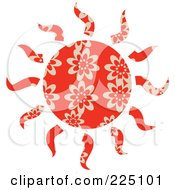 Royalty Free RF Clipart Illustration Of A Red Patterned Sun