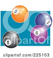 Royalty Free RF Clipart Illustration Of An Eightball With Orange Blue And Purple Balls On A Pool Table by Prawny