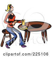 Royalty Free RF Clipart Illustration Of A Whimsy Woman Eating At A Table
