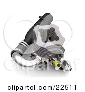 Clipart Illustration Of A Chrome Black And Eyllow Car Engine Over White by KJ Pargeter