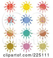 Royalty Free RF Clipart Illustration Of A Digital Collage Of Colorful Patterned Suns