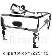 Royalty Free RF Clipart Illustration Of A Black And White Thick Line Drawing Of A Man Playing Pool by Prawny