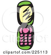 Royalty Free RF Clipart Illustration Of A Green Whimsy Cell Phone by Prawny