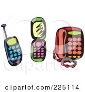 Royalty Free RF Clipart Illustration Of A Digital Collage Of Blue Green And Red Whimsy Phones by Prawny