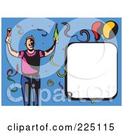 Royalty Free RF Clipart Illustration Of A Whimsy Party Guy With Copyspace