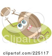 Royalty Free RF Clipart Illustration Of A Football Character Leaping To Catch A Ball by Prawny