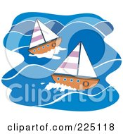 Royalty Free RF Clipart Illustration Of Sailboats On Blue Water