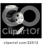 Clipart Illustration Of A Rubber Car Tyre Leaning Against A Stack Of Three Others Reflecting Over Black by KJ Pargeter